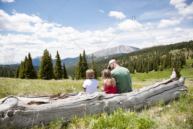 Family sitting on a log overlooking mountains