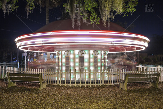Merry-go-round spinning at night in Saint Augustine, Florida