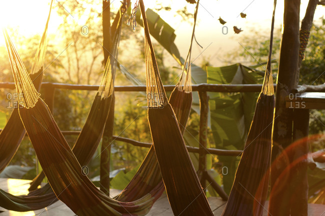 Hammocks at a tropical tree house at sunset