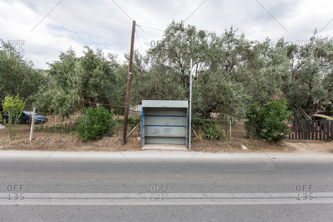 Bus stop along a road in Greece