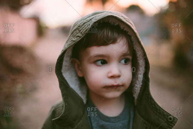 Portrait of boy with hood up