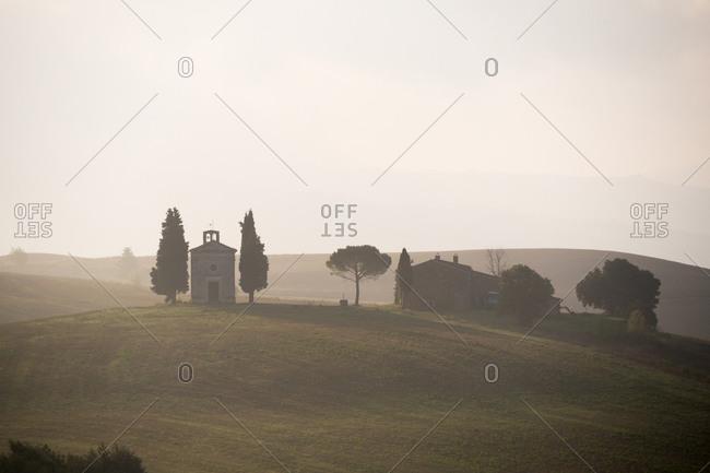 Tuscany, Italy - August 25, 2015: Madonna di Vitaleta Chapel near Pienza in Siena, Tuscany, Italy