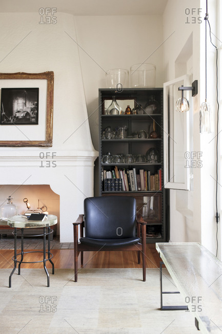 Los Angeles, California - September 22, 2014: Sitting area with fireplace and hearth in Alison Berger's studio