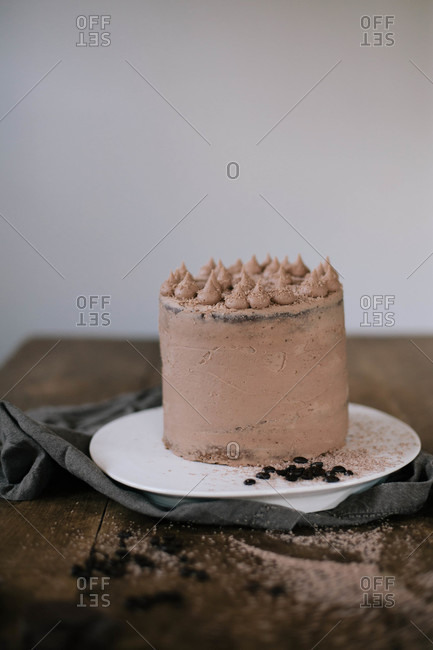Tall layered chocolate cake
