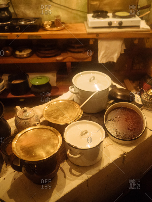 Overhead view of pots and pans in an Indian cafe kitchen in Moscow