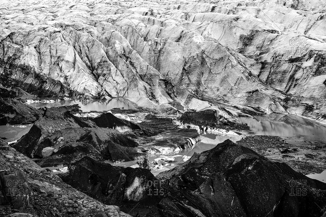 Elevated view of Svenafellsjokull glacier, Iceland