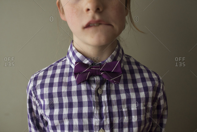 Close up of child in bowtie