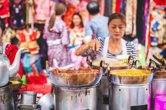 Street food being prepared during Chinese New Year in Bangkok, Thailand
