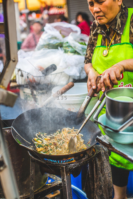 Thai street food prepared at a food stall during Chinese New Year in Bangkok, Thailand