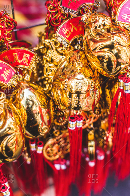 Close-up of Chinese ornaments during Chinese New Year festival in Bangkok, Thailand