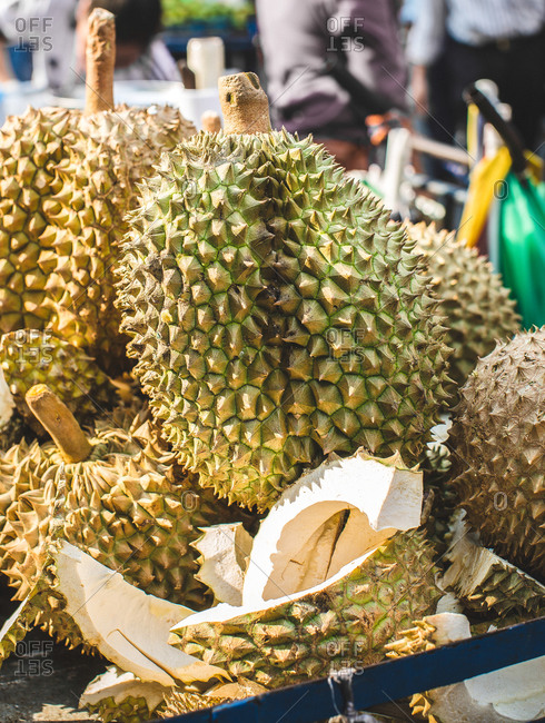 Durian for sale at a farmers market in Bangkok, Thailand