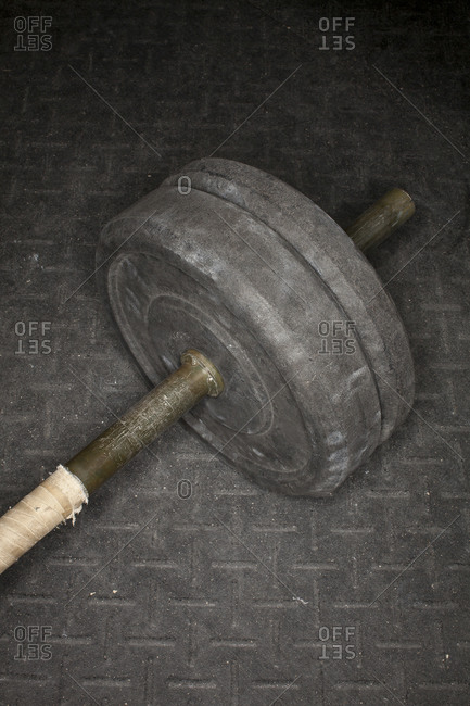 Close up of weights on a barbell