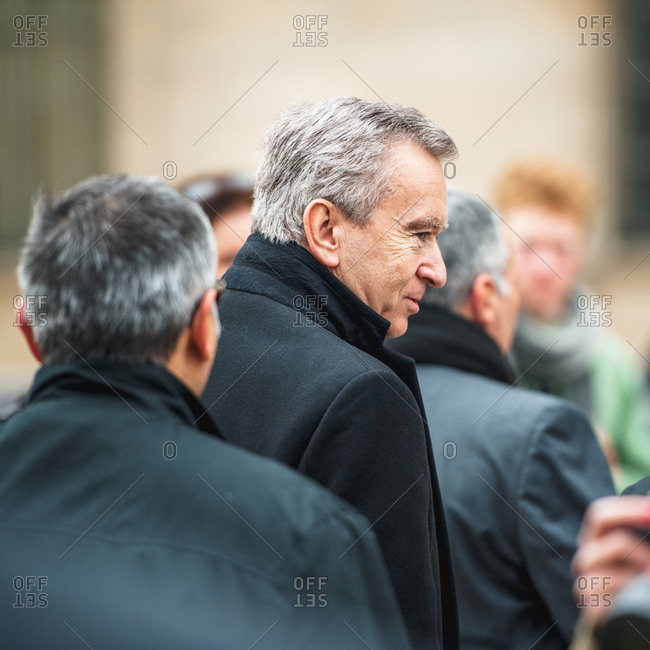 Paris, France - March 3, 2013: Bernard Arnaud, head of LVMH attend the 7th of Paris Women's Fashion Week