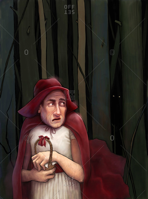 An illustration of an adult man dressed as Little Red Riding Hood walking through the dark forest