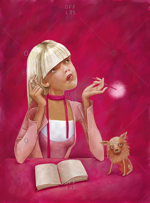 An illustration of a student girl looking up and thinking with her notebook and a small dog