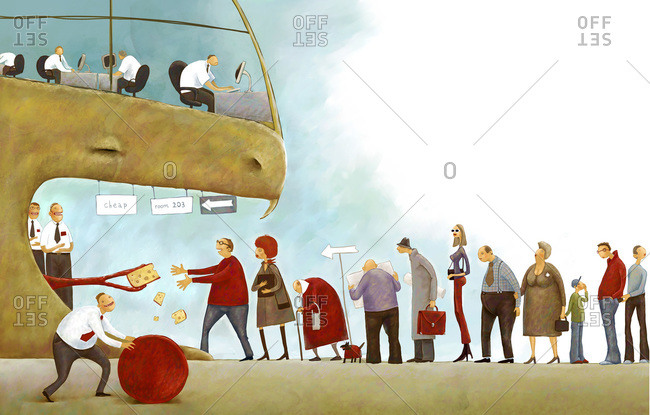 An illustration of a cheating company ensnaring people standing in line for free cheese