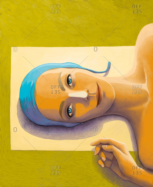 An illustration of a lying young woman getting a tan