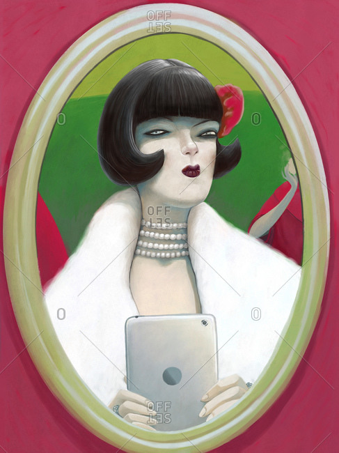 An illustration of a young woman dressed in 1920s style wearing a fur coat and her hair in a bob taking a selfie in front of the mirror