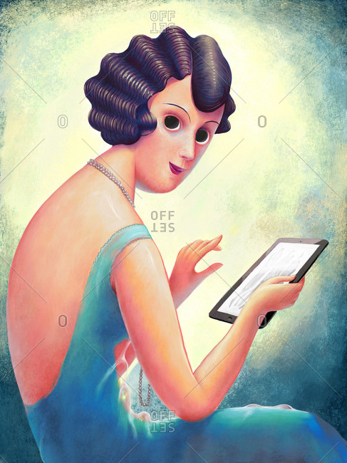 A hand-drawn vintage 1920s style illustration of a young woman reading a fashion magazine on her tablet
