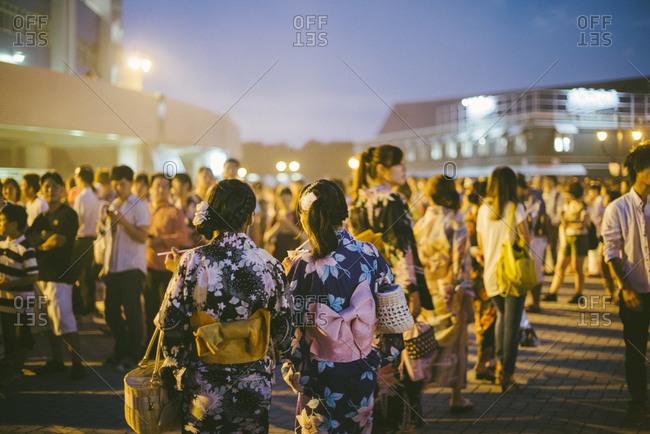 Girls in kimonos at a festival in Tokyo, Japan