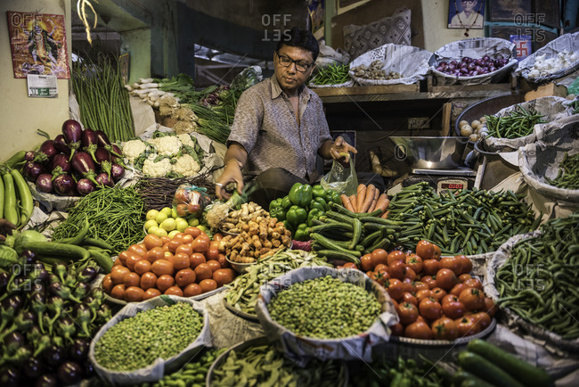 Vendor displaying many types of fresh vegetables for sale at a market in Bhavnagar, Gujarat, India