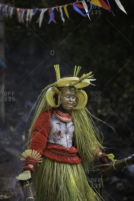 Performer dressed in traditional costume for the Theyyam Festival in Kerala, India