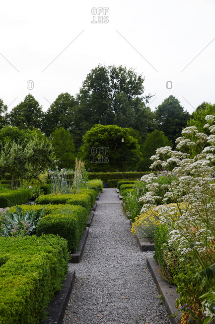 Path in a formal garden with beds lined by hedges