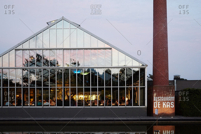 Amsterdam, Netherlands - July 4, 2015: Restaurant in a former greenhouse in Amsterdam
