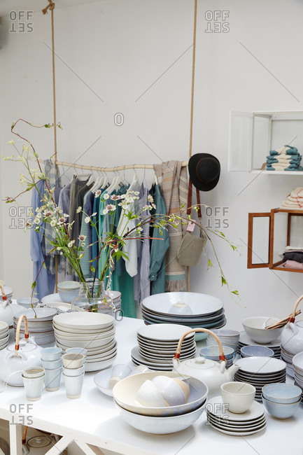 Amsterdam, Netherlands - July 5, 2015: Clothing and pottery for sale in a boutique
