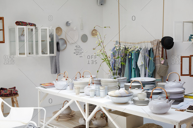 Amsterdam, Netherlands - July 5, 2015: Trendy boutique selling clothing and housewares