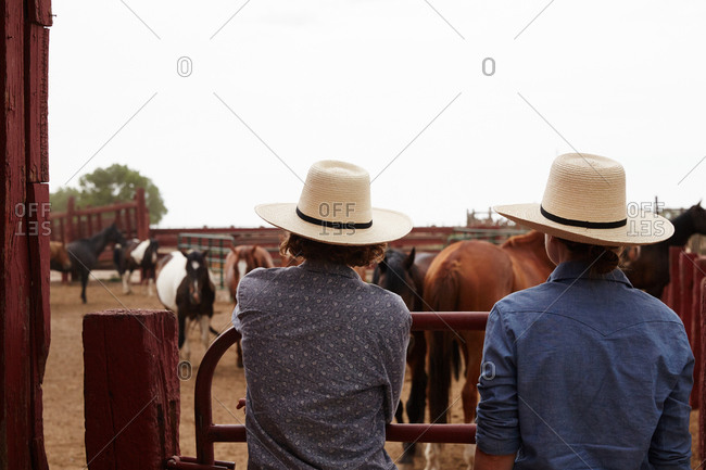 Back view of two women at a horse corral