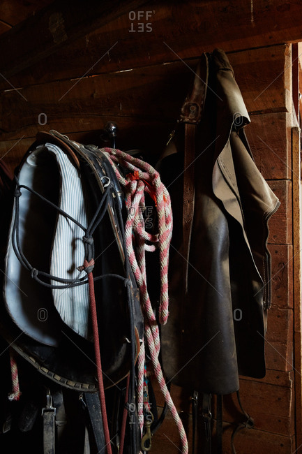 Saddle and leather chaps hanging in barn