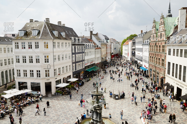 Copenhagen Denmark - June 29, 2015: Elevated view of shops in Stroget, Copenhagen