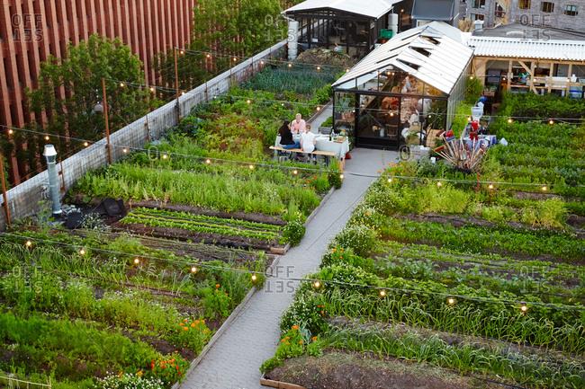 Copenhagen Denmark - July 2, 2015: Rooftop garden restaurant in Copenhagen