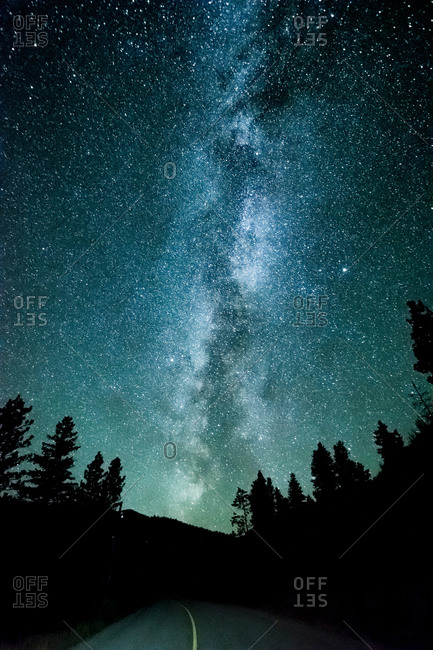 Forest road and milky way at night, Penticton, British Columbia, Canada