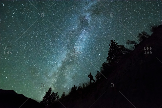 Man silhouetted against night sky and milky way in mountain forest, Penticton, British Columbia, Canada
