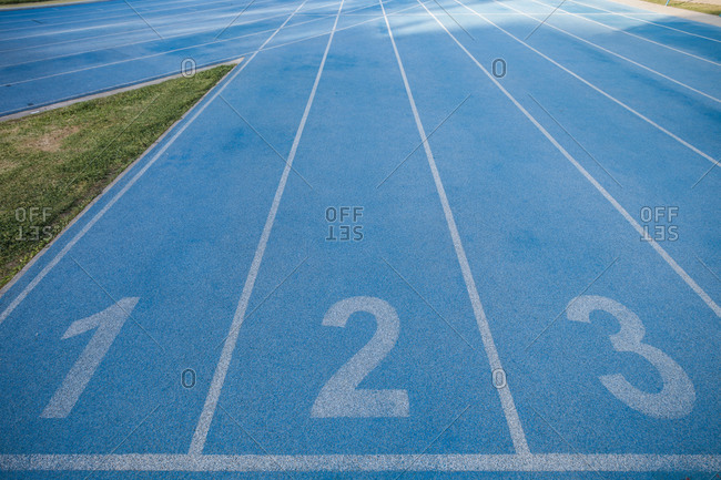 Blue running track and numerals