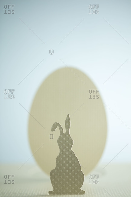 A cutout of an Easter bunny and Easter egg