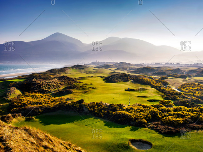 Newcastle, Northern Ireland - April 9, 2015: Royal County Down golf course in Northern Ireland