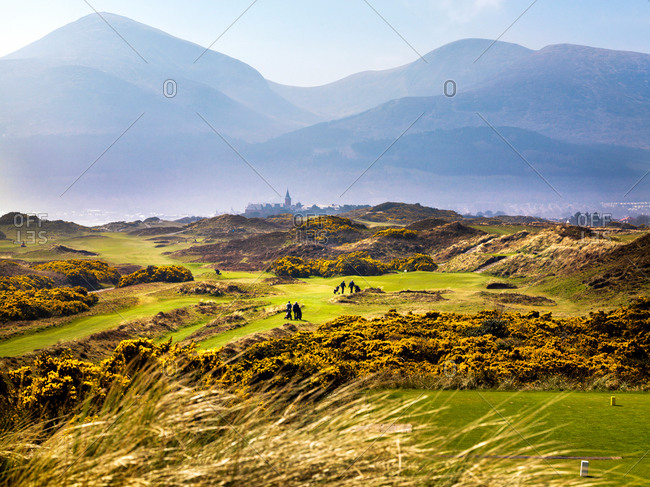 Newcastle, Northern Ireland - April 9, 2015: People on the Royal County Down golf course in Northern Ireland