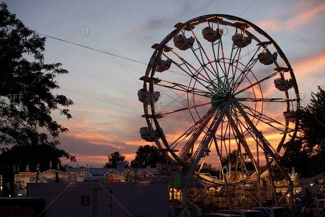 Fest grounds with rides