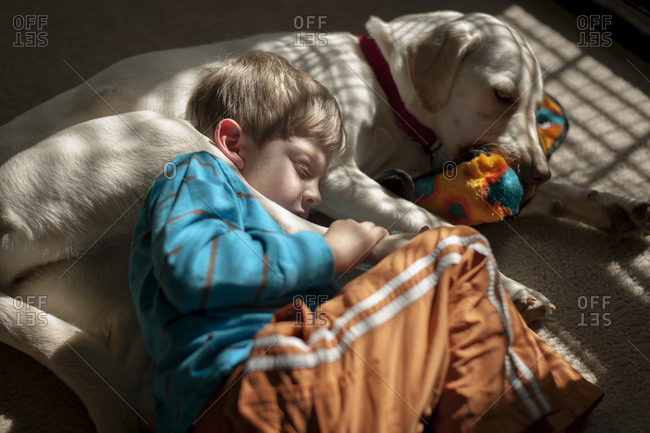 Boy curled up with a dog