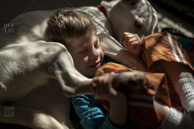 Boy and dog lying together