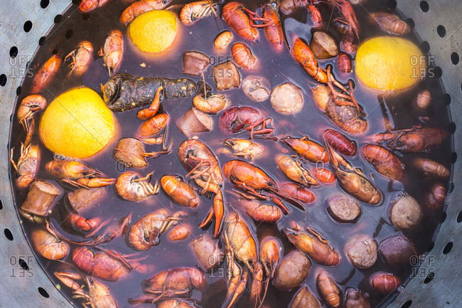 Overhead view of pot of boiling crawfish