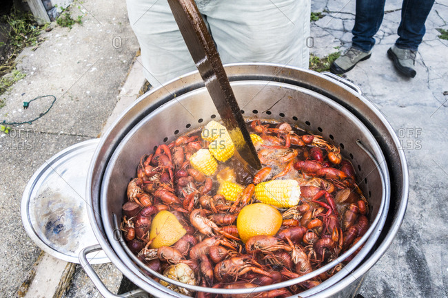 Cook stirring pot at crawfish boil