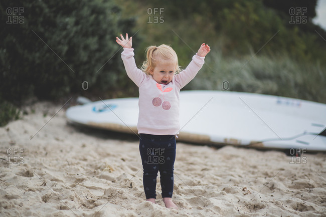 Little girl having a fit at the beach