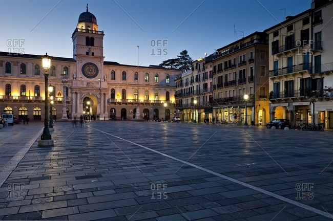 The Clock Tower of a medieval building overlooking Piazza dei Signori