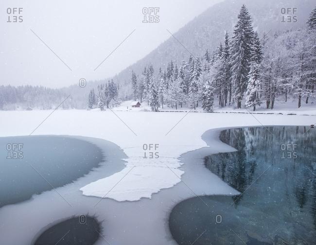 Lake lower of Fusine in wintertime