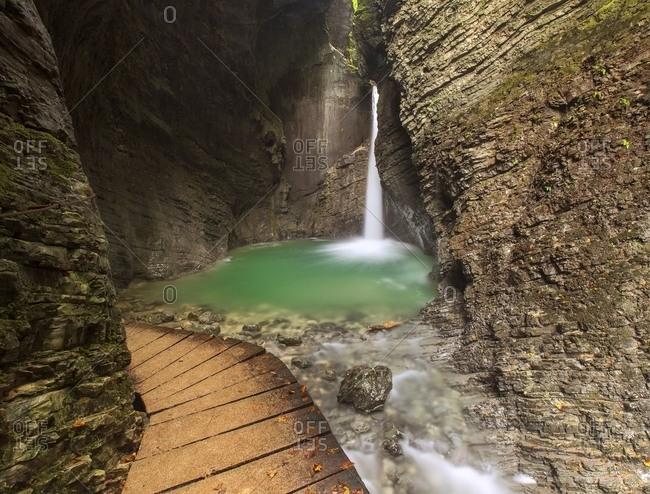 The emerald waterfall of Veliki Kozjak in Caporetto (Kobarid)