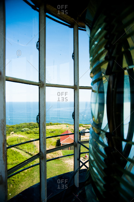 View of water from top of lighthouse at Block Island